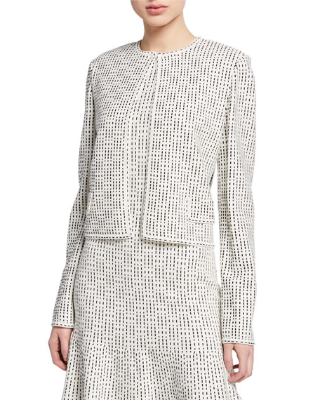 St. John Collection Graphic Ottoman Knit Jacket w/ Flap Pockets