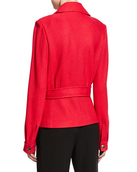 St. John Collection Gail Button-Front Jacket with Chest Patch Pockets