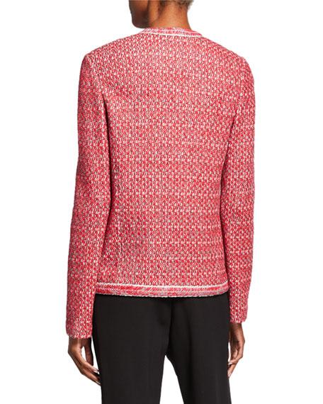 St. John Collection Artisinal Basket Weave Drop-Shoulder Jacket w/ Trim Detail