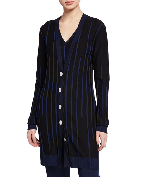 St. John Collection Plaited Engineered Rib Knit Button-Front Cardigan