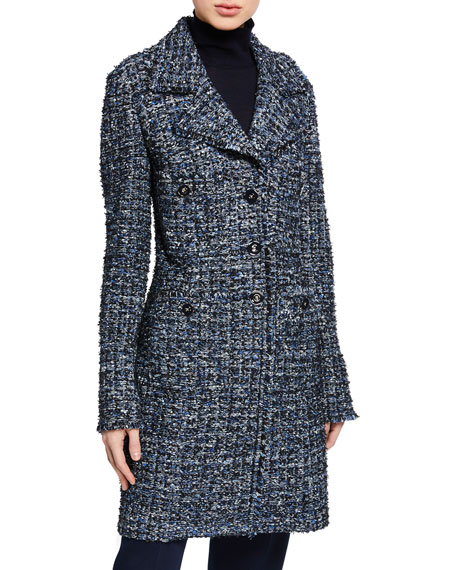St. John Collection Novelty Ribbon Tweed Button-Front Jacket w/ Fringe Trim