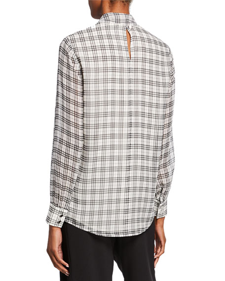 St. John Collection Prince Of Wales Plaid-Print Tie-Neck Silk Blouse