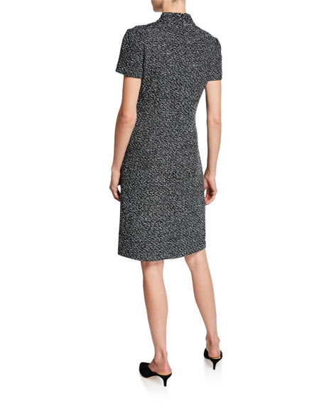 St. John Collection Short-Sleeve Textured Boucle Tweed Dress with Inverted Collar