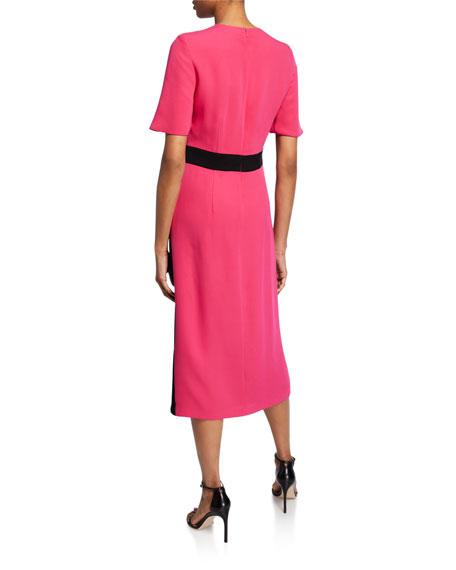 St. John Collection Crewneck Elbow-Sleeve Heavy Georgette Dress w/ Contrast Wrap Detail