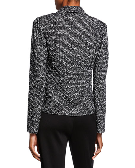 St. John Collection Textured Boucle Tweed Jacket with Flap Pockets