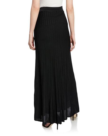 St. John Collection Engineered Ottoman Plisse Knit Maxi Skirt