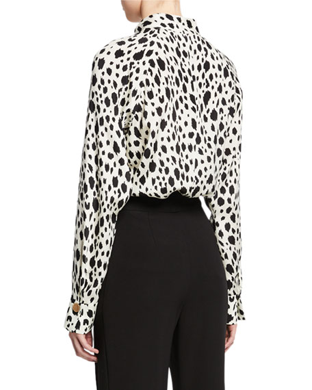 St. John Collection Snow Leopard Print Long-Sleeve Top with Stand Collar