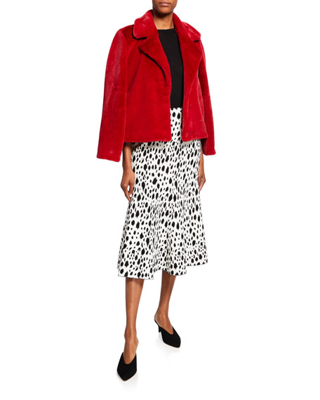 St. John Collection Snow-Leopard Jacquard Knit Midi Skirt