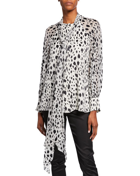 St. John Collection Snow Leopard-Print Devore Blouse with Chiffon Scarf