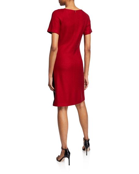 St. John Collection Raglan-Sleeve Textured Float-Stitch A-Line Dress w/ Stretch-Cady Insert