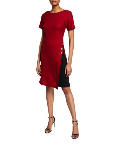 Raglan-Sleeve Textured Float-Stitch A-Line Dress w/ Stretch-Cady Insert