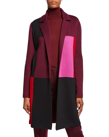St. John Collection Patchwork Colorblock Open-Front Twill Jacket