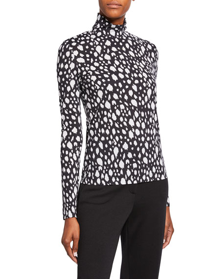 St. John Collection Snow Leopard Stretch Nuda Jersey Turtleneck Top