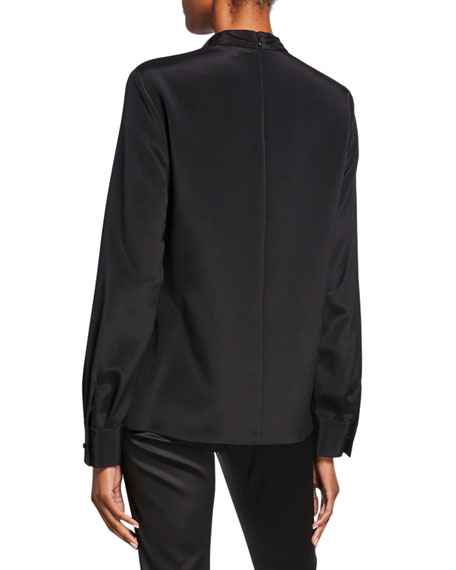 St. John Collection Stretch-Silk Blouse with Sequined Drape-Neck