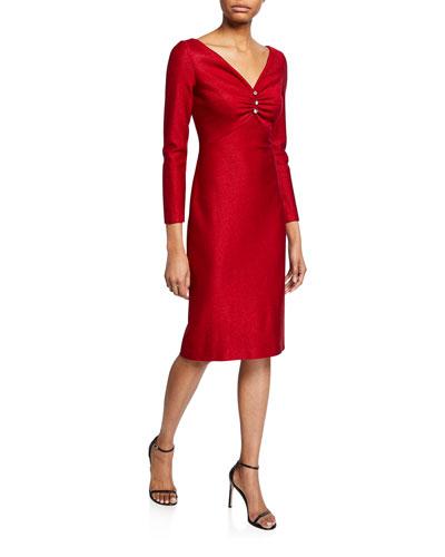 Shimmer Float Knit V-Neck Dress w/ Shirring Detail