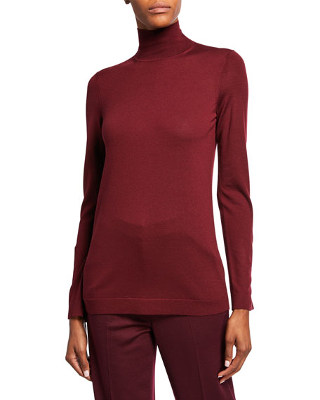 St. John Collection Extrafine Merino Wool Jersey Turtleneck Sweater w/ Button Detailing