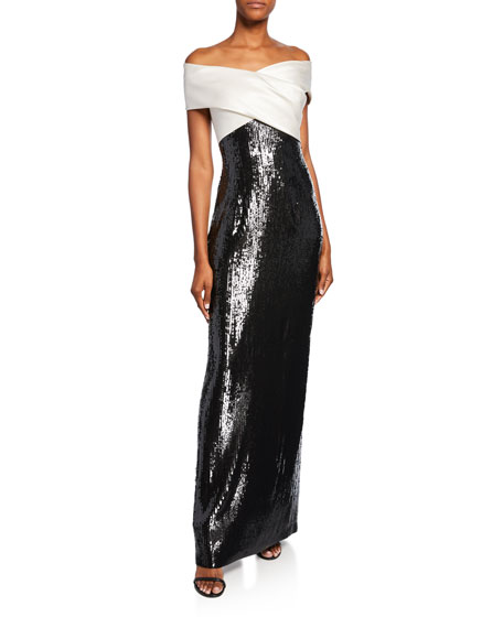 St. John Collection Layered Sequin Off-the-Shoulder Silk Georgette Gown w/ Slit