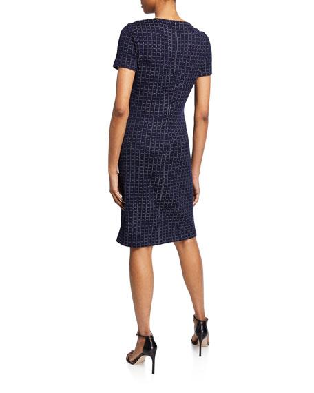 St. John Collection Graphic Boucle Windowpane Knit Asymmetric-Neck Dress