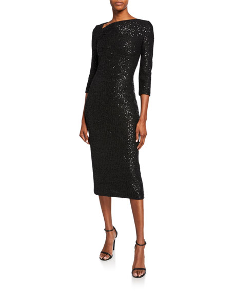 St. John Collection Statement Sequin Asymmetric-Neck 3/4-Sleeve Dress