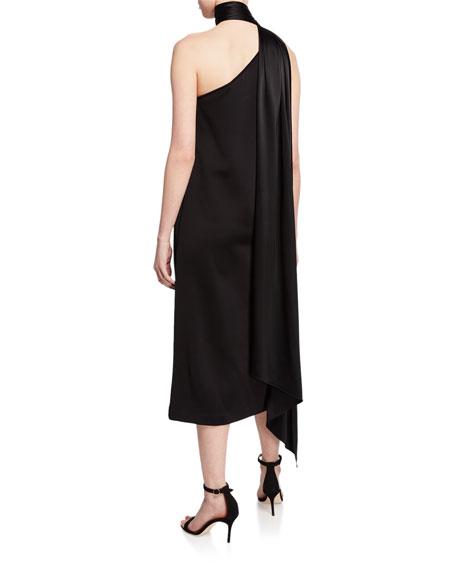 St. John Collection One-Shoulder Sleeveless Midi Dress w/ Liquid Satin Neck Tie