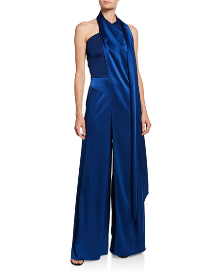 St. John Collection One-Shoulder Wide-Leg Liquid-Satin Jumpsuit w/ Draped Neck Wrap