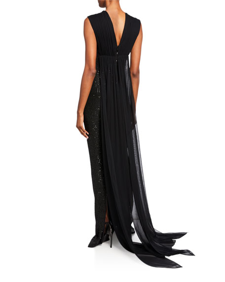 St. John Collection Sequin Statement Sleeveless Gown with Silk Chiffon Train