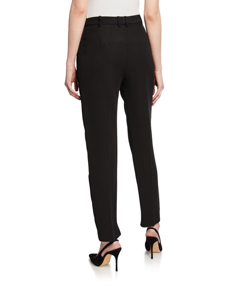 St. John Collection Tuxedo Ankle Pants with Duchess Satin Side Panel