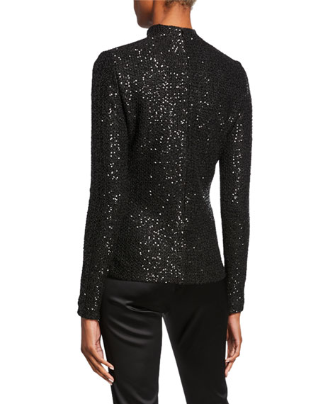 St. John Collection Statement Sequin Mock-Neck Top with Zipper Sleeves
