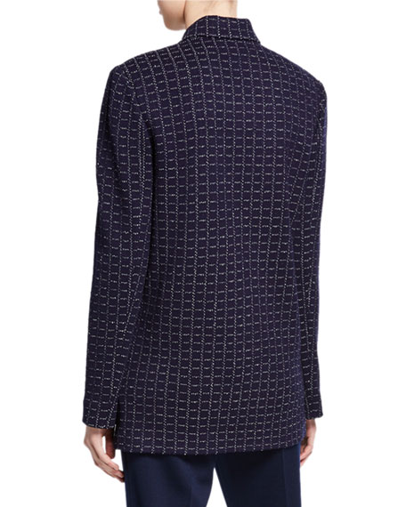 Image 2 of 2: St. John Collection Graphic Boucle Windowpane Knit Jacket
