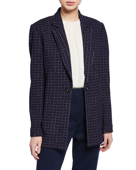 Image 1 of 2: St. John Collection Graphic Boucle Windowpane Knit Jacket