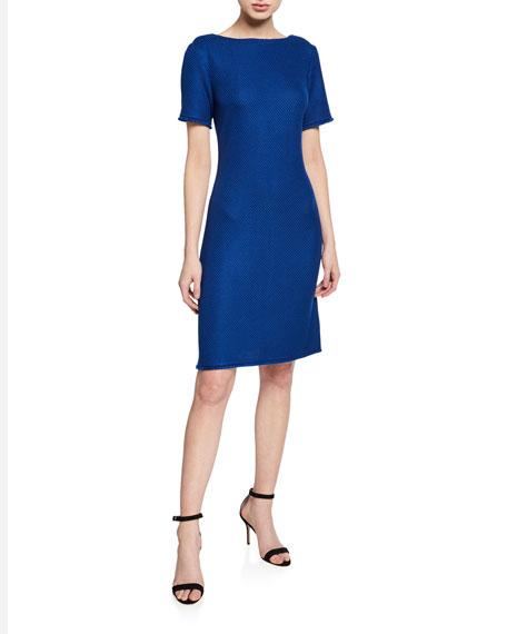 St. John Collection Gridded Texture Bateau-Neck Short-Sleeve Dress w/ Fringe Trim