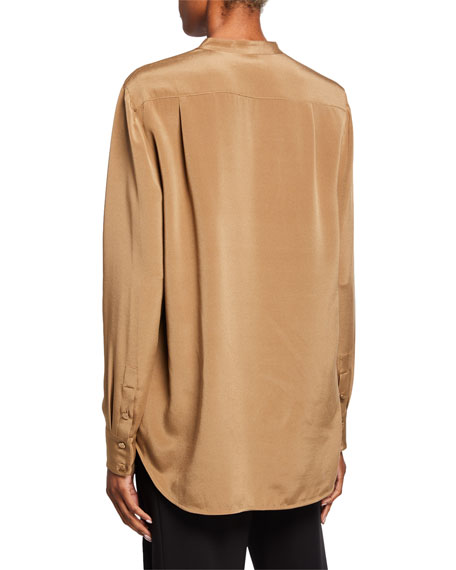 St. John Collection Stretch-Silk Button-Front Blouse