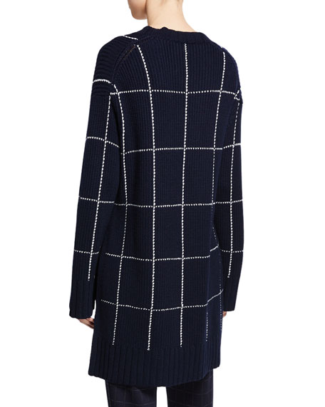 St. John Collection V-Neck Windowpane High-Low Sweater