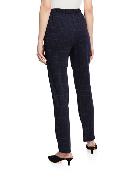 St. John Collection Windowpane Double-Face Jersey Slim Ankle Pants
