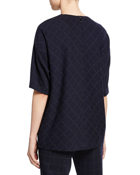 St. John Collection Windowpane Elbow-Sleeve Double-Face Jersey Top