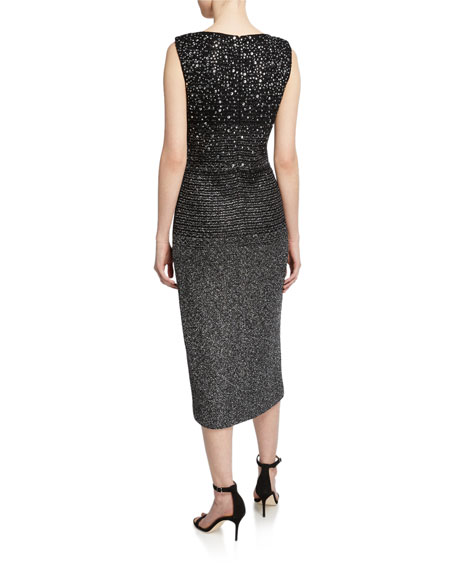 St. John Collection Sequined Ombre Metallic Tweed Sleeveless Cocktail Dress