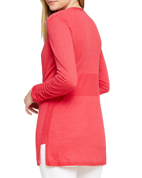 NIC+ZOE Petite Ruched Button-Front Cardigan