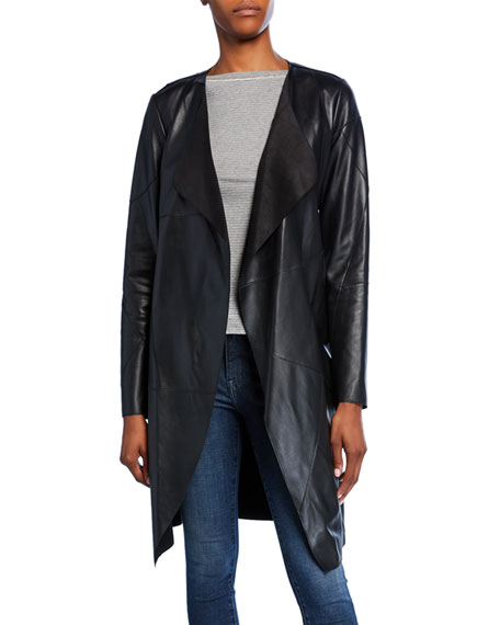 Neiman Marcus Leather Collection Patchwork Lambskin Leather Topper Jacket