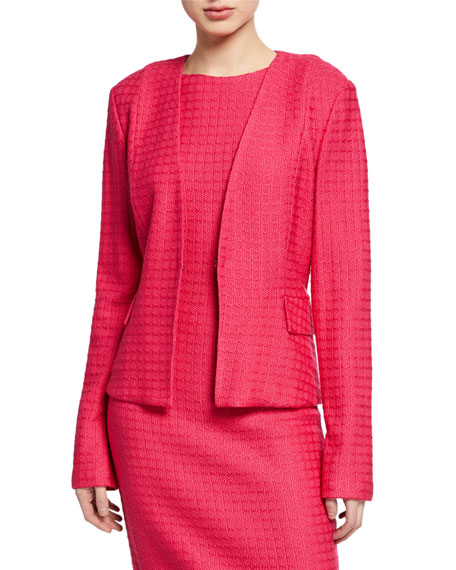 St. John Collection Box Textured Cutaway Jacket with Pockets