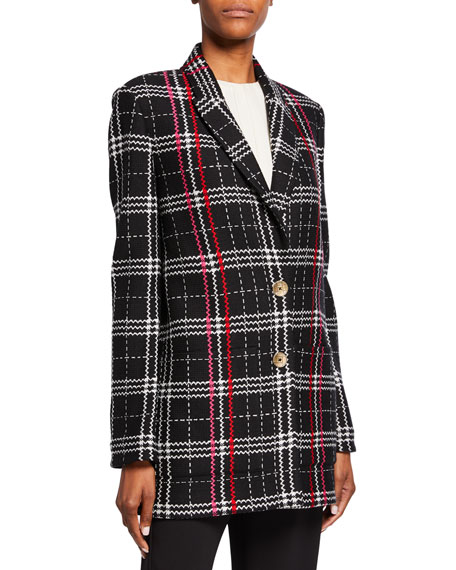 St. John Collection Two-Button Bold Plaid Jacket with Patch Pockets