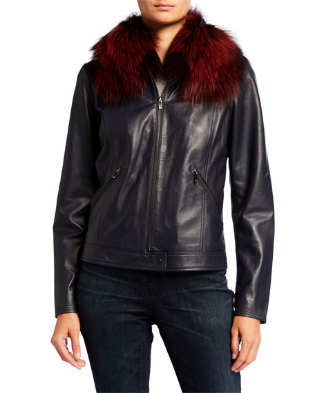 Neiman Marcus Leather Collection Center Zip Leather Moto Jacket with Fur Collar