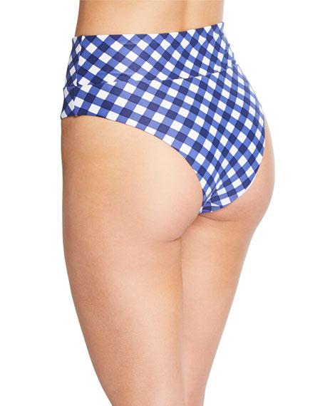 Onia Susana Gingham High-Waist Bikini Bottom