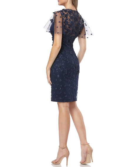 Carmen Marc Valvo Infusion Flutter-Sleeve 3D Novelty Lace Cocktail Dress