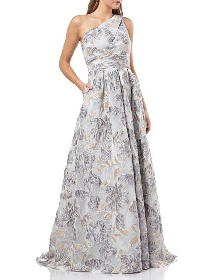 Carmen Marc Valvo Infusion One-Shoulder Metallic Organza Ball Gown