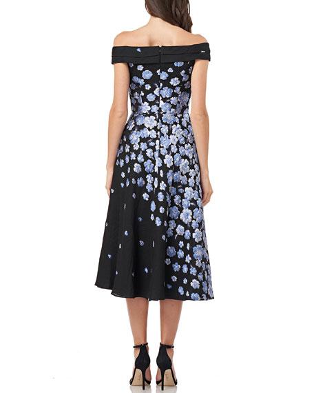 Carmen Marc Valvo Infusion Off-the-Shoulder Floral Jacquard Fit-&-Flare Cocktail Dress