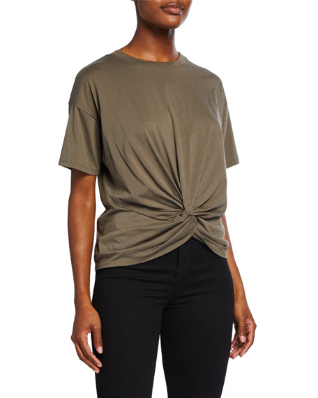Kumie Twist Front Short Sleeve Cotton Top