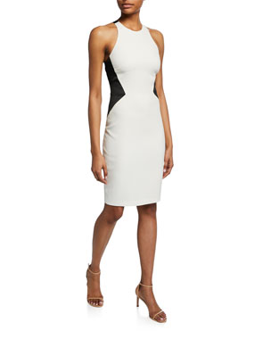 ead7fc1f2202 Halston Heritage Colorblock Sleeveless Crepe Halter Dress