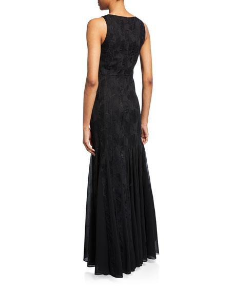 Halston Sleeveless Boatneck Crepe Strip Gown