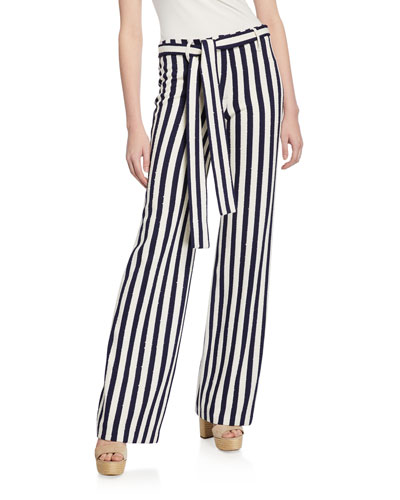 Leila Striped Straight-Leg Belted Pants