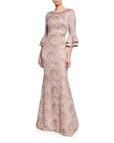 Theia Beaded Bateau-Neck Tiered Bell-Sleeve Tissue Cloque Trumpet Gown